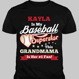 Personalized Girls Baseball Superstar Black T-Shirt