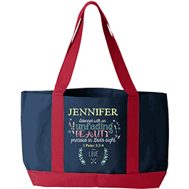 Adorned Beauty Personalized Tote Bag Navy and Red