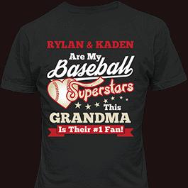 Personalized Baseball Superstars Multi Kids Black T-Shirt