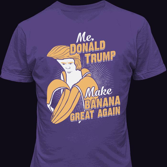 Funny Banana Face Donald Trump Hair Purple-T-Shirt
