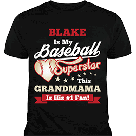 Personalized Boys Baseball Superstar Black T-Shirt