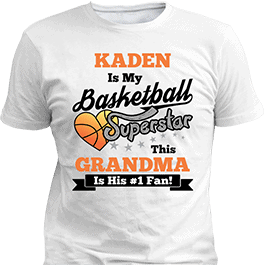 Personalized Boys Basketball Sport Superstar White T-Shirt
