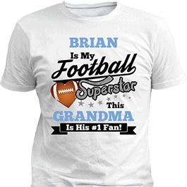 Personalized Boys Football Sport Superstars White T-Shirt