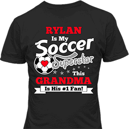 Personalized Boys Soccer Superstar Black T-Shirt