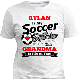 Personalized Boys Soccer Superstar White T-Shirt