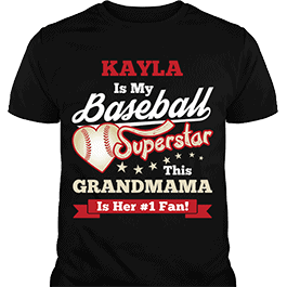 Personalized Girls Baseball Superstar Black T-Shirt