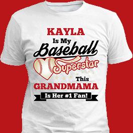 Personalized Girls Baseball Superstar White T-Shirt