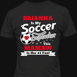 Personalized Girls Soccer Superstar Black T-Shirt