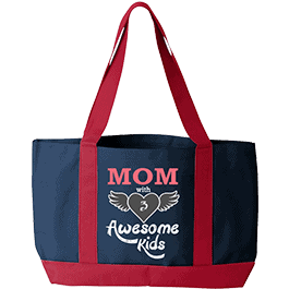 Awesome Kids Personalized Tote Bag Navy Red