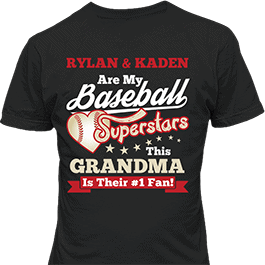 Personalized Baseball Superstars Multi Kids Black T-Shirt
