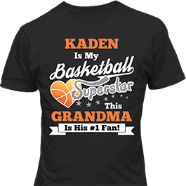 Personalized Boys Basketball Sport Superstar Black T-Shirt