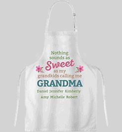 Personalized Sweet Grandma Apron White