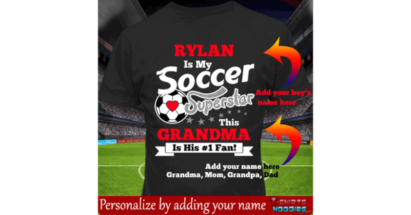 Soccer Superstar Boys Personalized Custom Printed T-shirts
