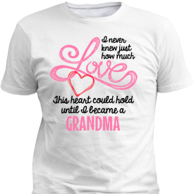 Grandmas Love Heart Personalized Custom White T-shirts