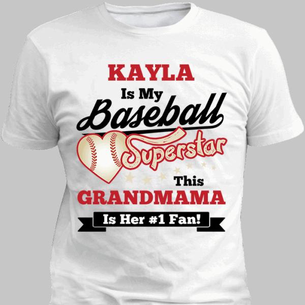 Girls Baseball Superstars White Personalized T-Shirt