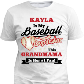 Personalized Baseball Superstar Girls Design White T-Shirt