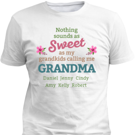 Sweetest Grandma Personalized Custom Printed T-shirts