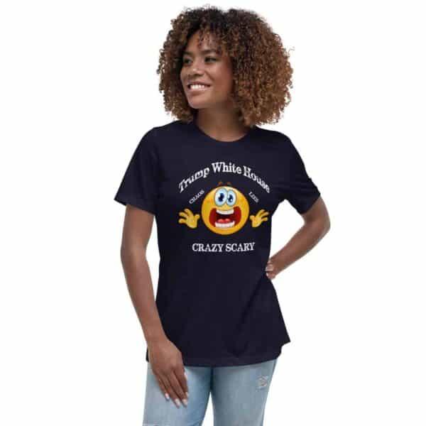 Trump White House Chaos Lies Crazy Scary Mug T-Shirt Navy Mockup