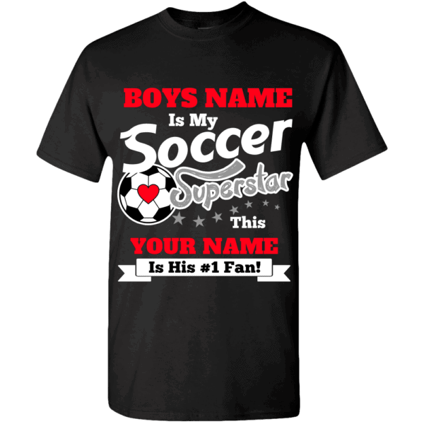 Personalized Custom Printed Boys Soccer Superstar T-Shirt