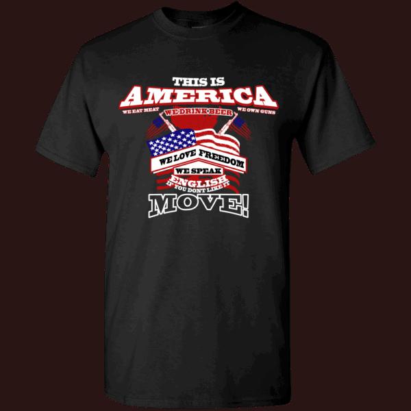 America Custom Printed T-shirts Design Black