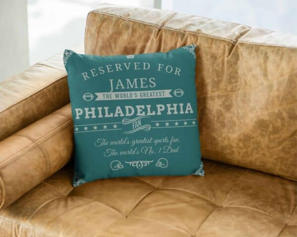 Personalized Philadelphia Football Fan Pillow Case on a couch