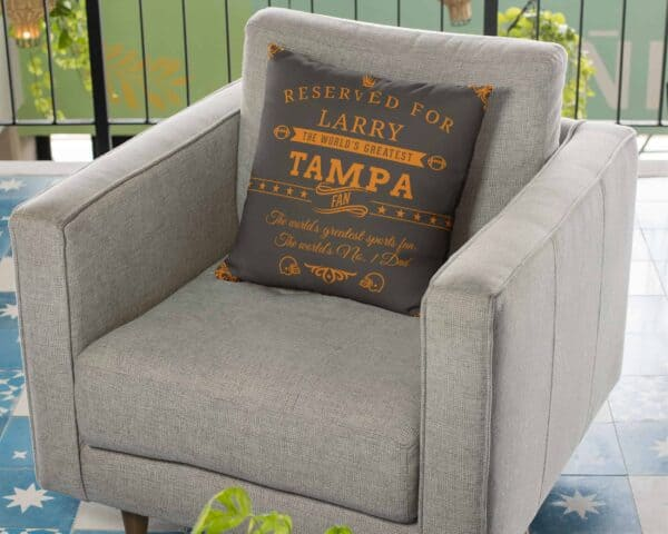 Personalized Printed Tampa Football Fan Pillow Case in Use