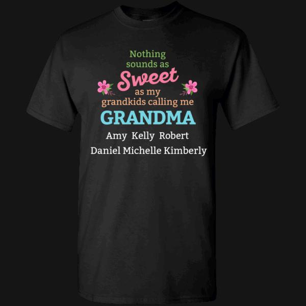 Sweetest Grandma – Personalized Custom Printed T-shirts Black