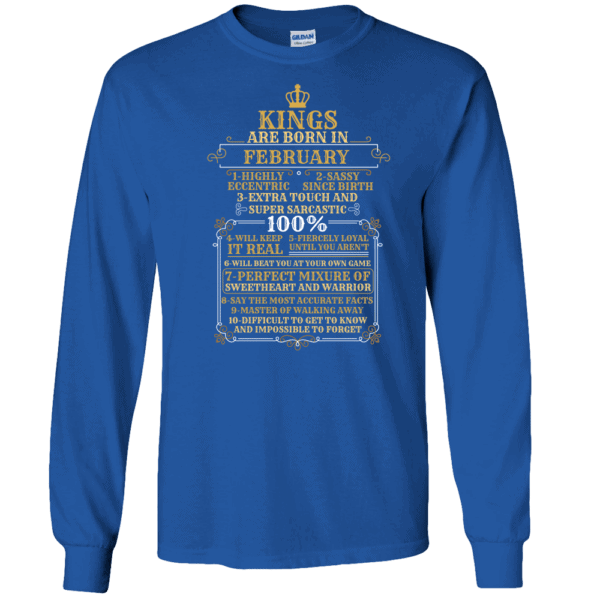 Personalized Kings Are Born Long Sleeve T-Shirt Design Royal