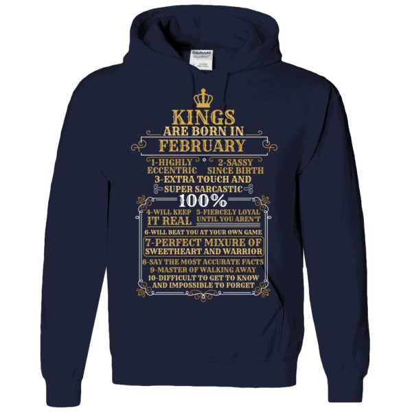 Personalized Kings Are Born Hoodie Design Navy