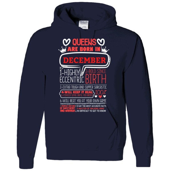 Personalized Printed Hoodie Queens Are Born Design Navy