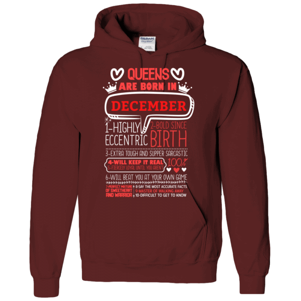 Personalized Printed Hoodie Queens Are Born Design Maroon