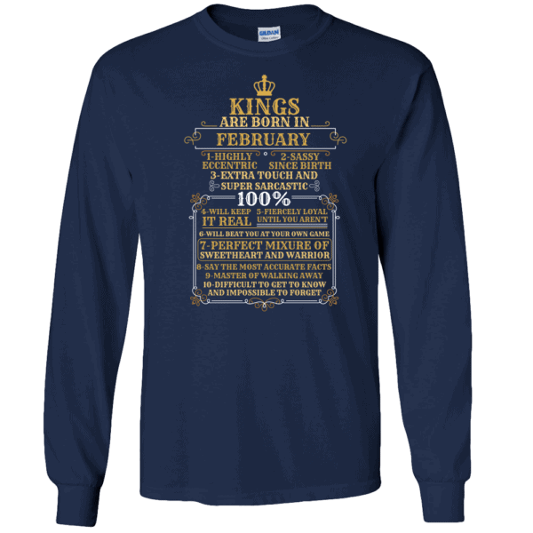Personalized Kings Are Born Long Sleeve T-Shirt Design Navy