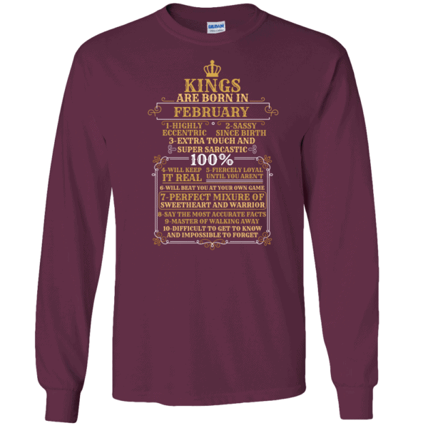 Personalized Kings Are Born Long Sleeve T-Shirt Design Maroon
