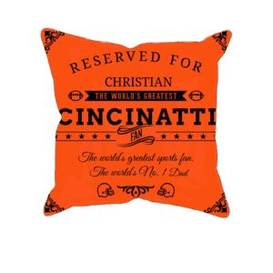 Cincinnati Football Fan Personalized Printed Pillow Case