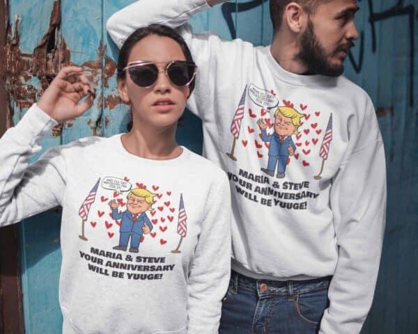 Huuge Anniversary - Trump Personalized Printed Crewneck Sweat Shirt View 1