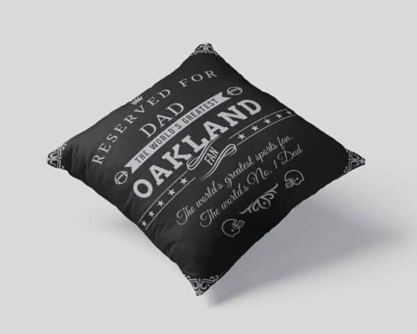 Oakland Football Fan Personalized Printed Pillow Case pillow mockup View 1