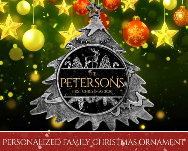 Personalized Christmas Tree Ornament – First Christmas with Reindeer Design