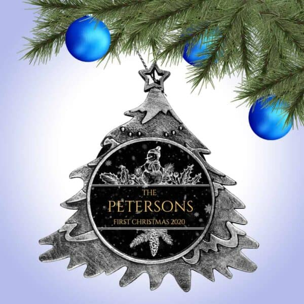 Personalized Christmas Tree Ornament – First Christmas Snowman Design