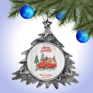 Personalized Christmas Tree Ornament – Merry Christmas with Truck Design