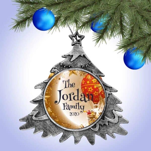 Personalized Christmas Tree Ornament – Santa Balloon Design