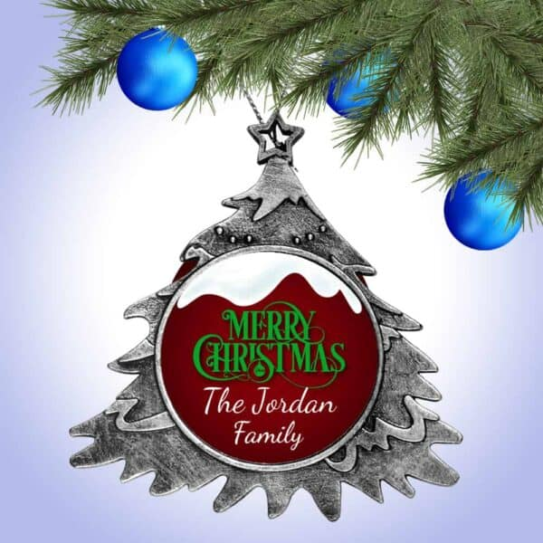 Personalized Christmas Tree Ornament – Snow Top Merry Christmas Design