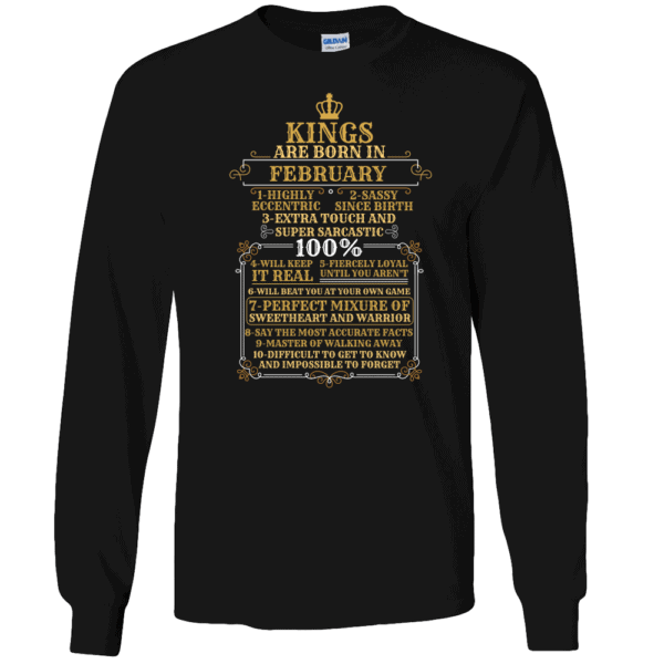 Personalized Kings Are Born Long Sleeve T-Shirt Design Black