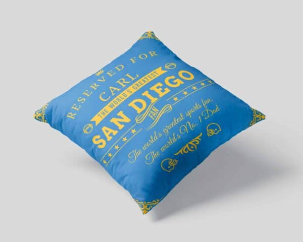 Personalized Printed San Diego Football Fan Pillow Case pillow mockup View 1