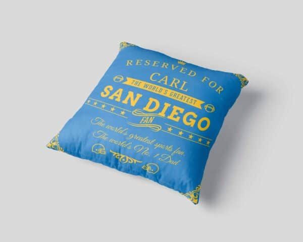 Personalized Printed San Diego Football Fan Pillow Case pillow mockup View 3
