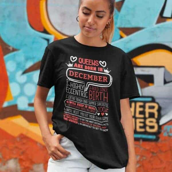 Personalized Printed T-shirt Queens Are Born Design
