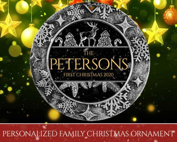 Personalized Round Ornament – First Christmas with Reindeer Design