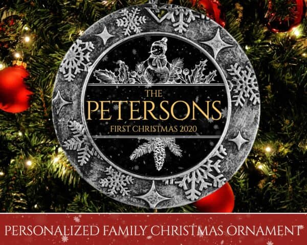 Personalized Round Ornament – First Christmas with Snowman Design