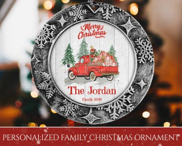 Personalized Round Ornament – Merry Christmas with Truck Design