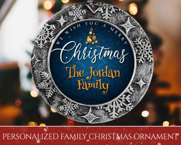 Personalized Round Ornament – We Wish You A Merry Christmas