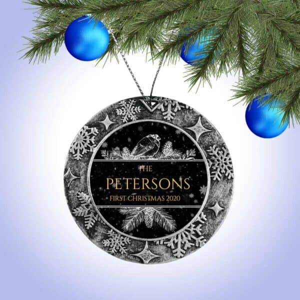 Personalized Round ornament - First Christmas with Bird design